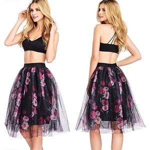 Dresses & Skirts - printed tulle layered skirt
